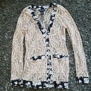 Lace floral dress shirt sz s